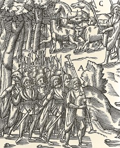 A raiding party of soldiers headed by a piper during a campaign through Ulster. Detail from John Derricke's The Image of Irelande of 1581.