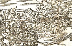 "A rout of the Ulstermen by English soldiers. The dead piper is the only figure labeled on this image and one of only two slain figures depicted, suggesting a symbolic importance. Note the depiction of a pleated ""kilt."" An unintentional reference to a Scottish connection? Detail from John Derricke's The Image of Irelande of 1581."